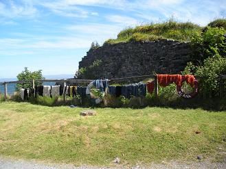Hand dyed wool drying - Isle of Skye